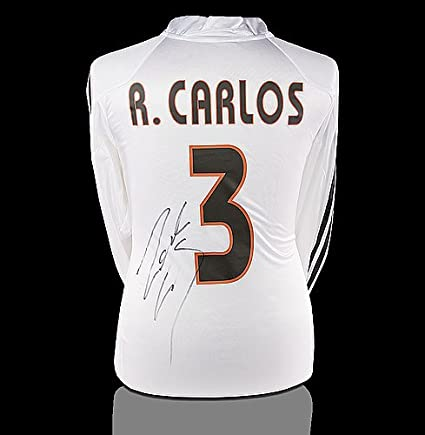 cca6e6226 Image Unavailable. Image not available for. Color  Roberto Carlos Back  Autographed Signed Real Madrid 2004-05 Home Shirt ...