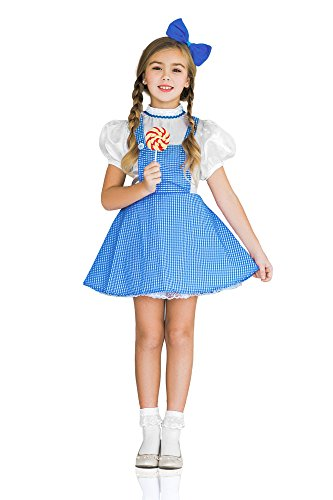 Kids Girls Little Dorothy Wizard of Oz Costume Fairy Tale Bow Party & Dress Up (6-8 years, White, (Fairy Tale Ball Costume Ideas)