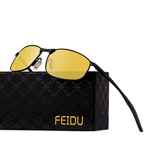 FEIDU Polarized Sport Mens Sunglasses HD Lens Metal Frame Driving Shades FD 9005 (Yellow/Black, - Polarized Yellow Sunglasses