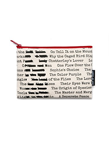 Out of Print Banned Books Pouch Natural