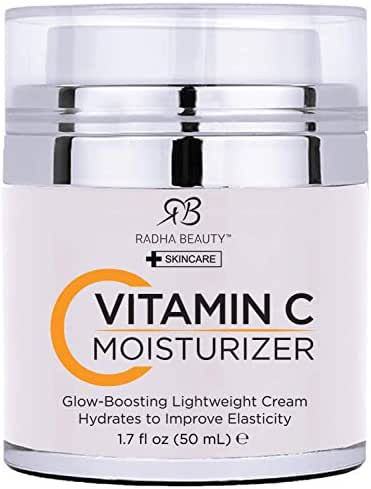 Radha Beauty Glow Boosting Vitamin C Moisturizer, 1.7 fl oz. for Face, Neck, Decollete - Super Moisturizing Facial Lightweight Cream, Anti-Aging & Brightening - Daily for Dry, Sensitive & Oily Skin
