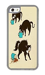 Apple Iphone 5C Case,WENJORS Awesome Coffee Cat Soft Case Protective Shell Cell Phone Cover For Apple Iphone 5C - TPU Transparent