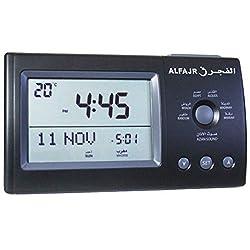 AlFajr CT-01 - Azan in 5 Voices Alarm Clock - from Saudi - Islamic Prayer Five Times - Easy Instruction Manual USA Cities - ZOON (Black)