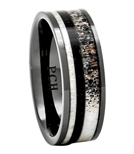 - PCH Jewelers Deer Antler Ring Wedding Band Black Ceramic Ebony Wood 8mm Comfort Fit (10)