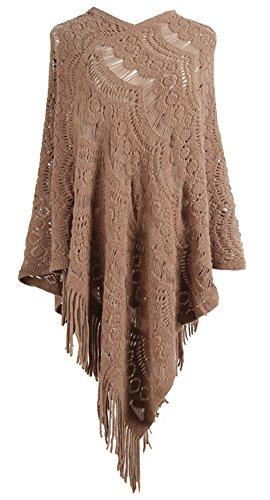 QZUnique Women's Sweater Cape Pullover Lace Shawl Tassels Knit Poncho-Like Wrap Khaki (Poncho Sweater Brown)