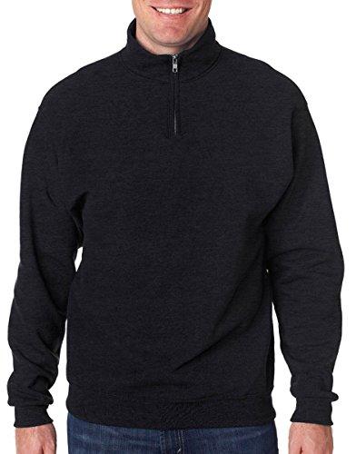 Jerzees Men's NuBlend 1/4 Zip Cadet Collar Sweatshirt, Blk Hthr, XX-Large (Zip Sweatshirt 1/4 Heavyweight)
