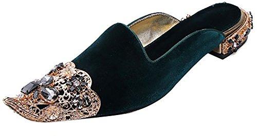 Slip Western Toe Shoes On Calaier 2CM Heel Catxis B Women Green Slippers Pointed U0qqw6CFS