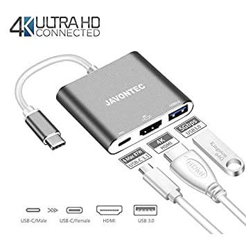 USB C HDMI Adapter, JAVONTEC Multiport Type C Hub with 4K HDMI, USB 3.0 Port and Power Delivery, USB Type C to HDMI Adapter for Surface Go, Dell XPS, HP Spectre, Chromebook Pixel, Samsung S8/S9, LG G5 C-TCB-01