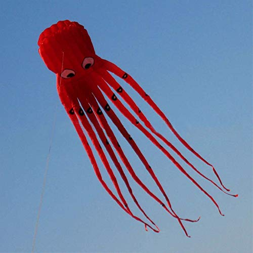 AMLJM 1pc 3D 8m Red Octopus Kite Fabric Flying Long Tail Kites for Kids Inflatable Easy Fly Kites