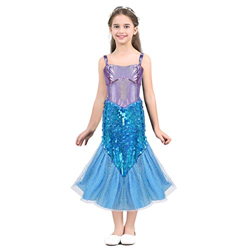 TiaoBug Baby Girls Fairy Tale Sweetheart Princess Costume Halloween Cosplay Theme Party Fancy Dress Lavender&Sky Blue 8]()