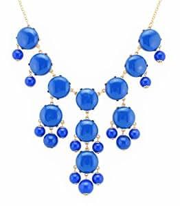 Color Bubble BIB Statement Fashion Necklace - Blue