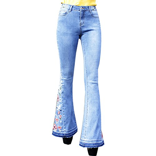 Embroidered Slim Cut Jeans (LIYT Women's Fashion Embroidered Slim Fit Boot Cut Jeans Denim Wide Leg Pants Trousers)