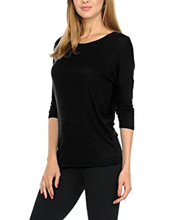 bluensquare Women's Dolman 3/4 Sleeves Round Neck Soft Jersey Top (Small, Black)