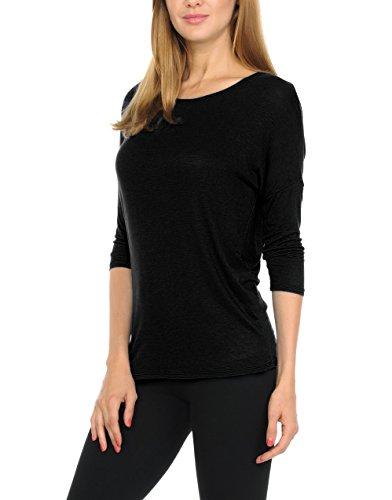 - bluensquare Women's Dolman 3/4 Sleeves Round Neck Soft Jersey Top (XX-Large, Black)