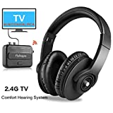 Wireless TV Headphones - Pohopa Portable New TV Over Ear Headsets, Foldable TV Audio Hearing Assistance with Transmitter System for Smart TV, Hard of Hearing Seniors
