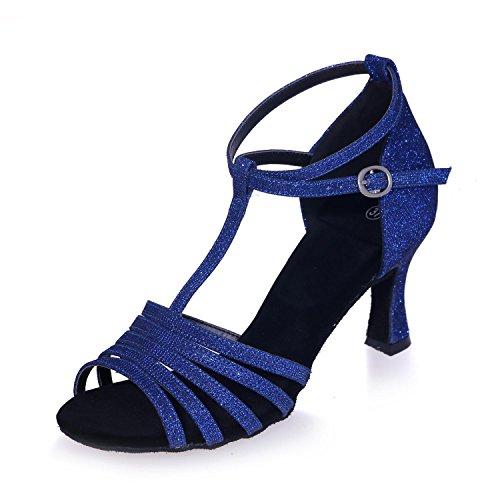 Moderne Bal Chaussures Danse Pour De Salle Pratique Chaussures L Mousseuses Cuir Femmes De De blue Paillettes YC fYqOwxgP