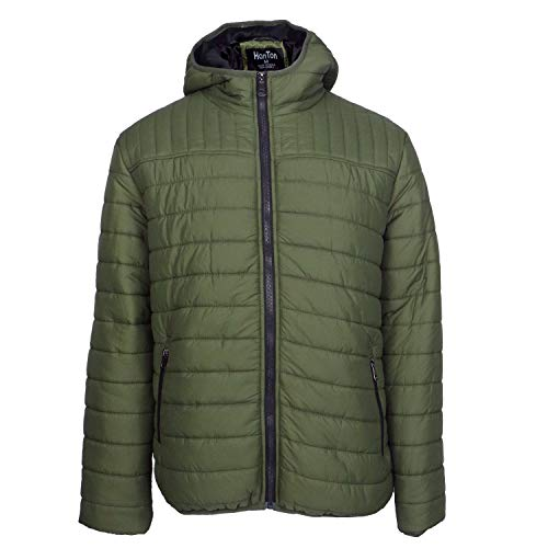 Leehanton Men's Hooded Packable Jackets Lightweight Insulated Puffer Jackets Full Zip Winter Cotton Coat (Olive, M) (Coat Zip Full Quilted)