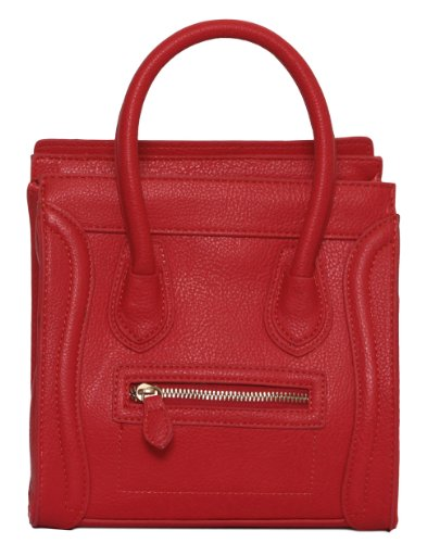 """Womens Designer Mini """"Poitiers"""" Tote Structured Shoulder Handbag – Red, Bags Central"""