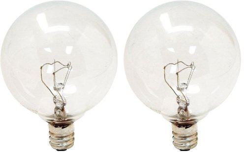 GE Lighting 23091 60-Watt Candelabra Base 600-Lumen G16.5 Globe Light Bulb, Crystal Clear, 2-Pack
