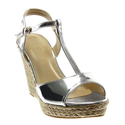 Angkorly Women's Fashion Shoes Sandals Mules - Platform - t-Bar - Ankle Strap - Patent - Cord - Thong Wedge Platform 11 cm Silver