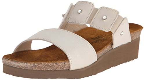 NAOT Women Ashley Wedge Sandal Dusty Silver Leather