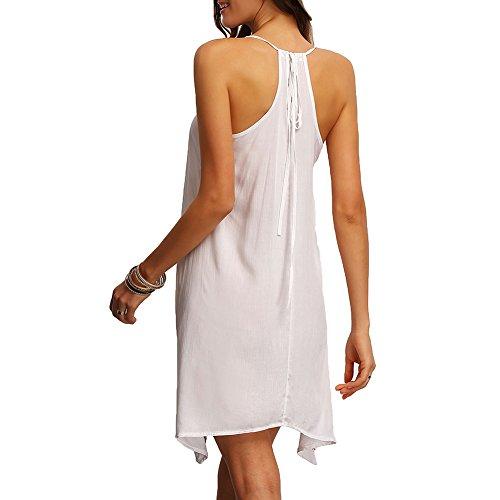 Dress visten Las del mangas Sexy cuello vintage Summer de Vestidos mujeres Hibote Boho sin Blanco ocasionales la impresión Beach Dress FAadgSFqw