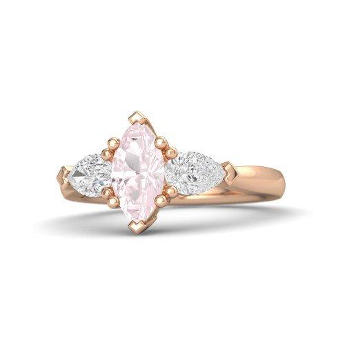 Marquise Rose Quartz 14K Rose Gold Engagement Ring â€