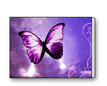 Purple Butterfly Canvas Prints For Modern Wall Art For Home Decoration 16 X  12 Inch