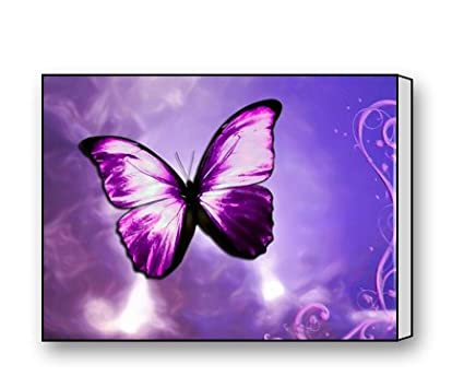 Awesome Purple Butterfly Canvas Prints For Modern Wall Art For Home Decoration 16 X  12 Inch