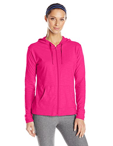 Hanes Women's Jersey Full Zip Hoodie, Amaranth, Large