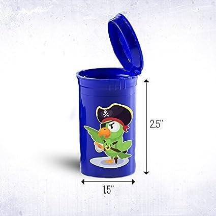 Parrot pirata Viajes plástico Pop Top Botella contenedores médica, hierbas, vial ID 861b