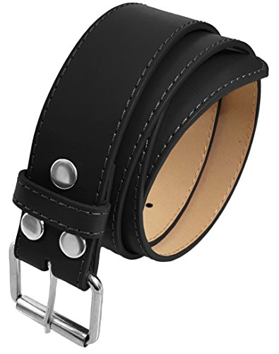 LUNA Top Quality Snap-On STITCH Silver Buckle Thick Wide Leather Belt - Black - 4X Large