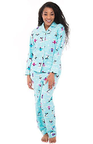Alexander Del Rossa Womens Flannel Pajamas, Long Cotton Pj Set, Large Blue Skiing Penguin (Penguin Flannel Pajamas)