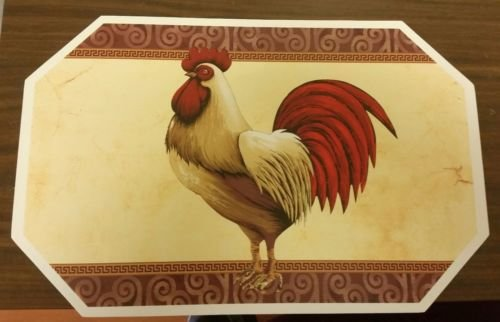 (The Pecan Man Set of 4 Kitchen Table Vinyl NON CLEAR ROOSTER Design Placemats 18