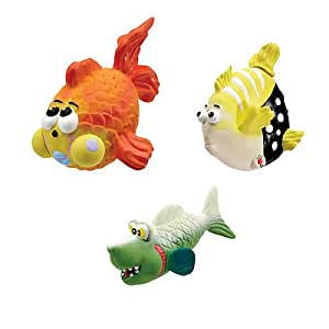 Pet Supplies : Zanies Large Latex Fish Dog Toy 3pk