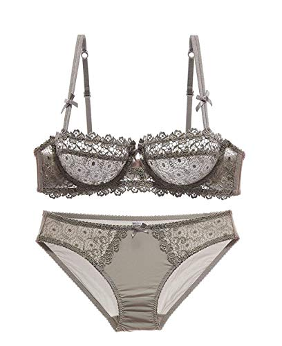 Womens Lumiere Floral Sheer Lace Balconette Bra and Knickers Set Under-Wired(Gray-32C)