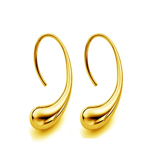 Auwer Elegant 100% 925 Sterling Silver Earrings for Women with 925 Silver Seal Antiallergic Stud Earring Fashion Jewelry (Gold)