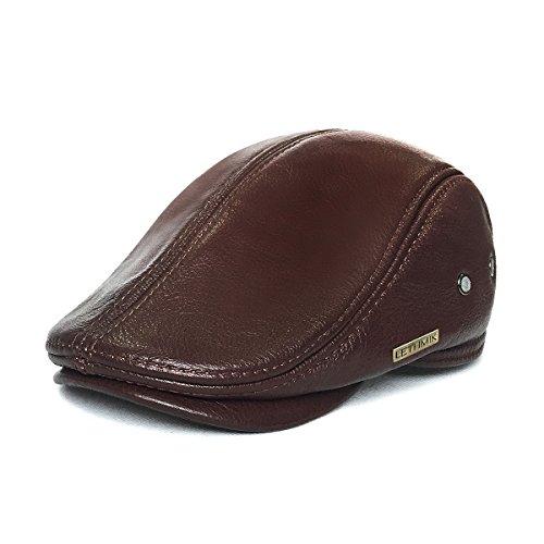 LETHMIK Flat Cap Cabby Hat Genuine Leather Vintage Newsboy Cap Ivy Driving Cap XL-Brown