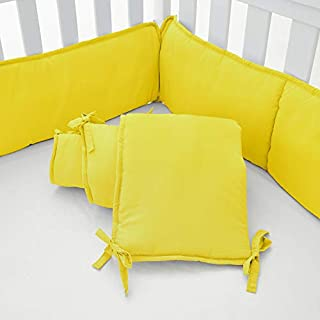 EXQ Home 4-Piece Baby Safe Crib Bumper Pads for Standard Cribs,Breathable Soft Microfiber Polyester Crib Liner Thick Pad,Machine Washable Mesh Bumpers Padded Protector for Nursery Bed(Yellow)