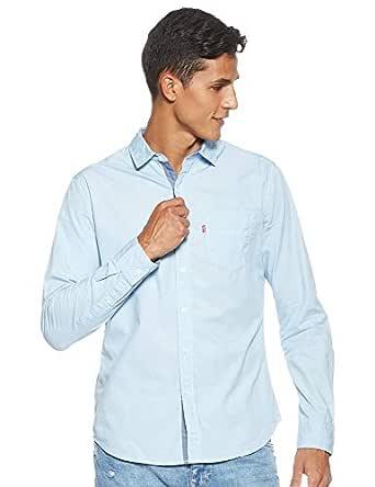 Levi's Men's Solid Regular fit Casual Shirt (32907-0032_Blue_Large)