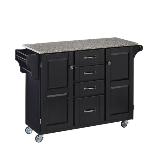 (Create-a-Cart Black 2 Door Kitchen Cart with Salt and Pepper Granite Top by Home Styles)