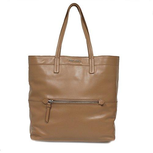 7615d4ff8 Miu Miu Prada Vitello Soft Leather Tote Large Caramel Beige Shoulder Bag  RR1934