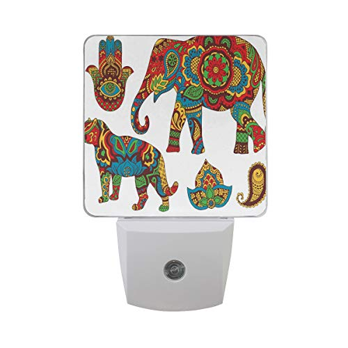 Colorful Plug in Night,African Savannah Animals Paisley and Hamsa Hand Pattern with Orient Ornate Malaysian,Auto Sensor LED Dusk to Dawn Night Light Plug in Indoor for Childs Adults