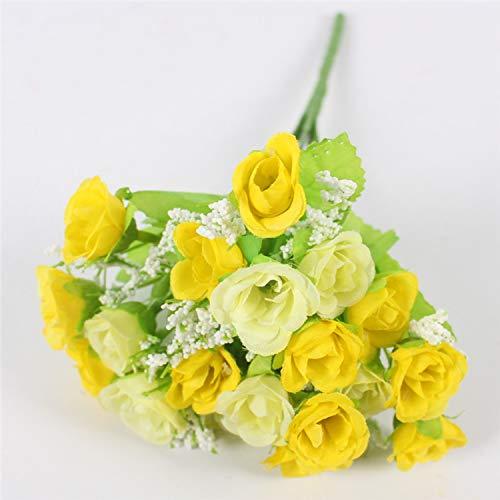 eu-knc Small Bud Roses Bract Artificial Flower Silk Rose DIY Wedding Home Christmas Decor Flowers Rose Gift,C Yellow