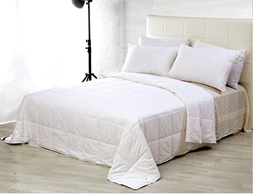 100% Silk Comforter Silk Duvet Natural Cotton Covered , White, King, 104×92 inch, Silk Weight: 1540g