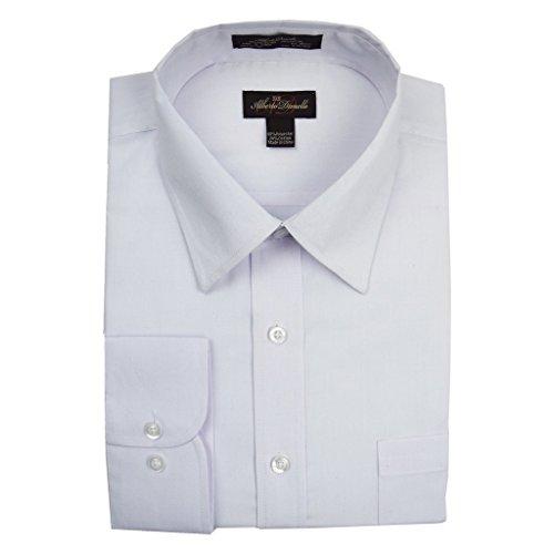 Alberto Danelli Men's Solid Long Sleeve Dress Shirt,White,Large / 16-16.5