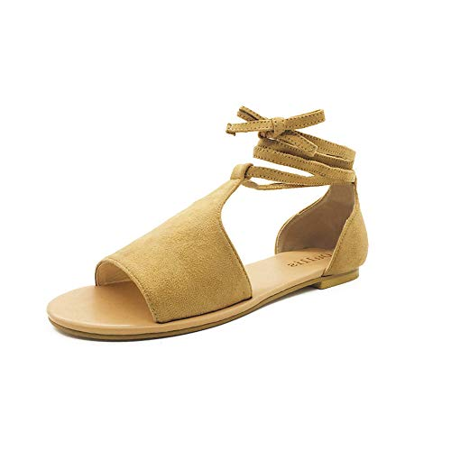 Women Summer Falt Sandals,Summer Ladies Round Toe Breathable Lace-Up Beach Sandals Rome Casual Gladiator Flat Rome Shoes Brown