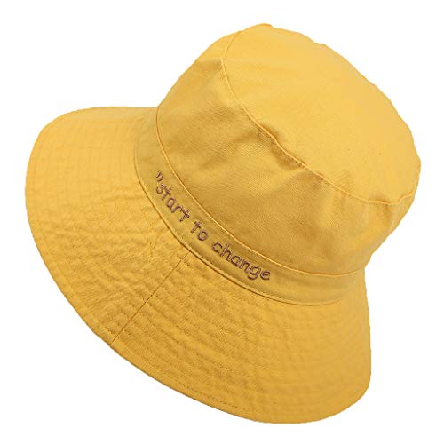 Shmei Unisex Casual UV Protection Sun Hats Summer Hat Women Wide Brim Cap (Yellow)