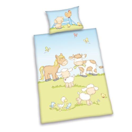 Herding 248556063 Bettwäsche Jana, Motiv: Bauernhof Tiere , Kopfkissenbezug: 40 x 60 cm + Bettbezug: 100 x 135 cm, 100 % Baumwolle, Renforce