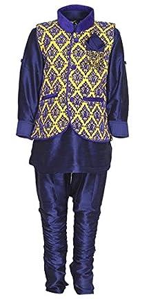 Amazon Com Indian Ethnic Wedding Party Wear 4 Piece Kurta Pyjama